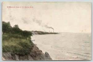 Waukegan Illinois~View @ US Naval Site~Smoke Stack on Shore~1907 Postcard