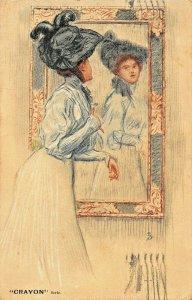 WOMAN ADMIRES HERSELF IN MIRROR-ARTIST TENRE Charles 1908~TUCK CRAYON POSTCARD