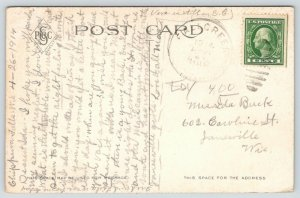 Eau Claire Wisconsin~Third Ward School~Open Tower~House Behind~1914 Postcard