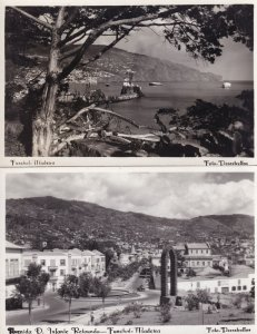 Funchal Madeira Avenida D. Infante Retounda Boats 2x RPC Postcard s