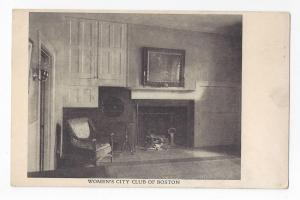 Boston MA Womens City Club Interior Vintage UND Postcard