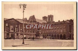 Old Postcard Reims Place Royale and Louis XV Statue