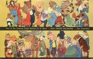 Linen Postcard; Jo Mora Art Deco Dressed Animal Murals, Hotel Drake Wiltshire SF