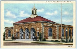 LAWRENCEVILLE, Illinois IL   POST OFFICE  Lawrence County c1940s Linen Postcard
