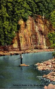 Kentucky Elkhorn City Russell Fork Fishing Scene Curteich