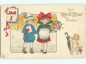 Pre-Linen New Year CUPID WALKS WITH PRETTY GIRL AND BOY AB2472