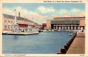 Florida Pensacola  U S Naval Air Station Boat Basin Curteich