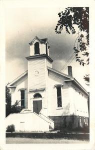 Capron Illinois~Real Photo Postcard~Methodist Church~Tower, No Steeple~c1950 pc