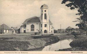 Dutch East Indisch Indonesia Protestantsche Kerk op Boeboetan Soerabaja 02.06
