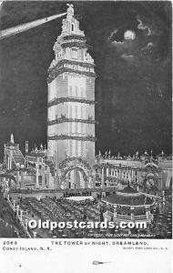 The Tower by Night, Dreamland Coney Island, NY, USA Amusement Park Unused gli...