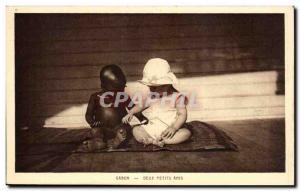 Old Postcard Gabon Two boyfriends Children