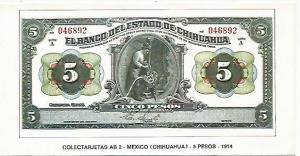 POSTAL 18167: 5 pesos de Mexico 1914