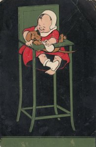 Baby in highchair carrying dachshund, PU-1908, PFB 5186