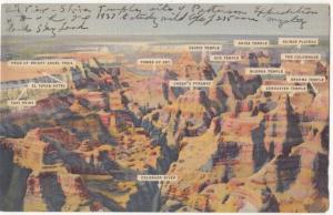 Air View of Grand Canyon, Arizona, used Postcard