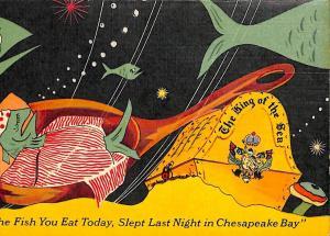 New York NY The King of The Sea Restaurant Menu Signed Redka Linen Postcard