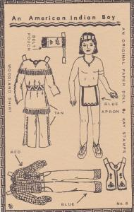 An American Indian Boy Cut-Out Doll Postcard , 00-10s