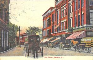 Westerly RI High Street Horse & Wagons in 1911 Postcard