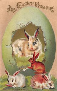 Easter~White Rabbit in Lime Green Egg Panorama~Bunnies Hop In~Emboss~HI Robbins