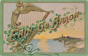 St Patrick's Day Greetings - Celtic Harp - Erin Go Brach - pm 1907 - DB - Tuck