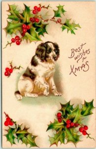 Vintage CHRISTMAS Greetings Postcard Spaniel DOG Best Wishes for Xmas c1910s
