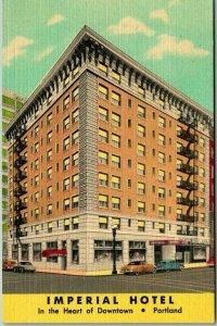 1940s PORTLAND, Oregon Postcard IMPERIAL HOTEL Street View Curteich Linen Unused