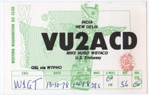 QSL, VU2ACD, New Delhi, India, 1978