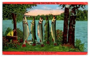 1949 Greetings from Eagle River, WI Postcard *5N13
