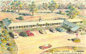 1950s Gra-Mar Lodge Aerial View linen Bowers postcard 2202 FAYETEVILLE NC