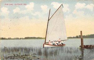 F73/ LaPorte Indiana Postcard c1910 Pine Lake Sailboat