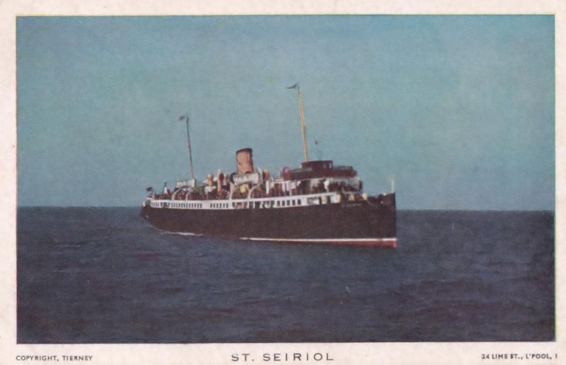 St Seiriol Liverpool & North Wales Steamship Company Ship Vintage Postcard