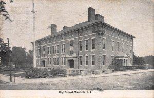 High School, Westerly, Rhode Island, Early Postcard, Used With Flag Cancel