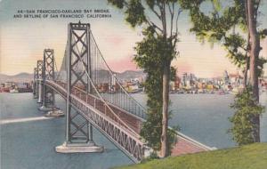 California San Francisco Skyline & San Francisco-Oakland Bay Bridge 1958