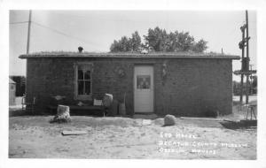 Oberlin Kansas~Tree Stump & Stone in Yard of Sod House~Butter Churn~RRPC 1950 PC