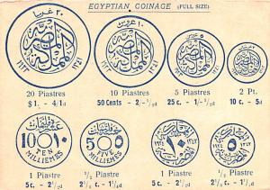 Coin Postcard, Old Vintage Antique Egyptian Coinage