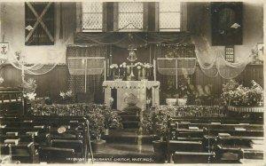Hastings interior Shermans Church altar rppc