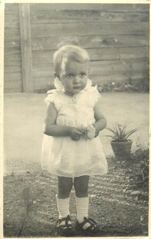Children topical real photo postcard 1940s baby bebe