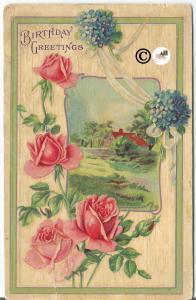 Vintage Postcard Birthday Greetings Pink Roses and Purple Violet Posy Cottage