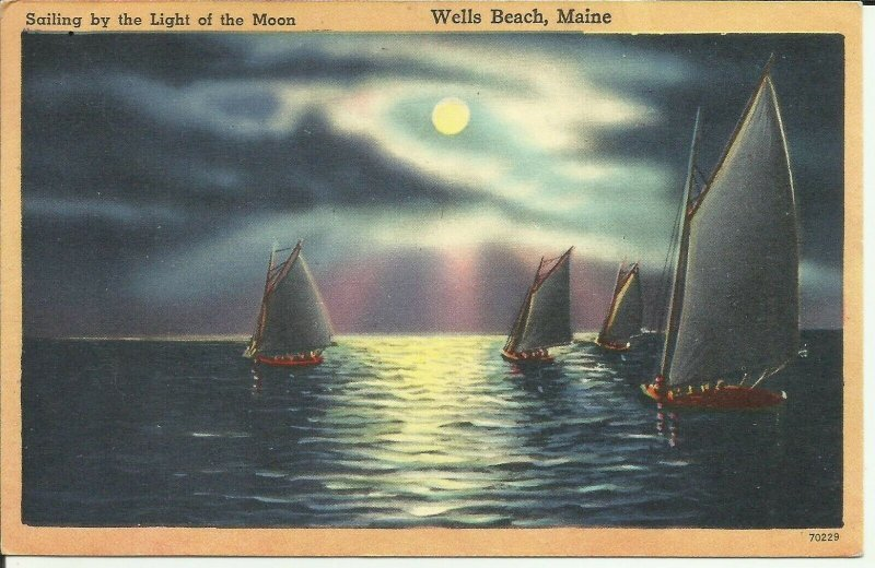 Wells Beach, Maine, Sailing By The Light Of The Moon