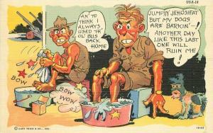 Comic Humor Military Dog Barking Postcard Ray Walters linen Teich 5179