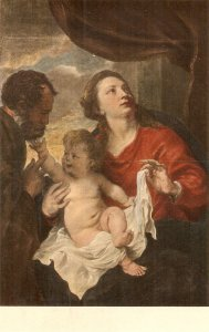 A. van Dyck. The Holy Family Finen painting, vinttage Swiss postcard