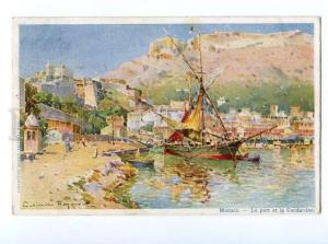 132890 MONACO Le port by RAYMOND Vintage RPPC to RUSSIA