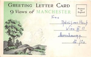 B89330 greeting letter card 9 views of manchester   uk