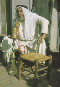 Middle East Smoking A Waterpipe Relaxation Arabic Postcard