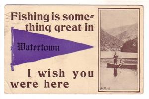 Pennant Series, B&W Men in Rowboat, Watertown, Massachusetts, Flag Cancel