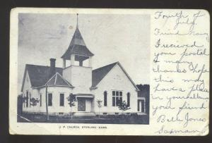 STERLING KANSAS U.P. CHURCH VINTAGE POSTCARD BRIDGEPORT KANSAS 1907