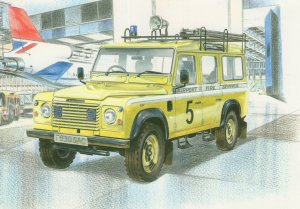 Liverpool Airport Five Service Land Rover Transport Painting Postcard