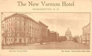 Washington DC New Varnum Hotel Street View Capitol Antique Postcard K19406