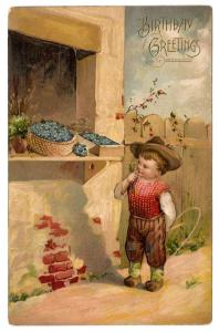 Birthday Greetings Boy Flower Stand Forget Me Nots Postcard