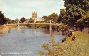 Hereford Cathedral from the Wye River Bridge Pont Cathedrale