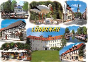 Luebbenau im Spreewald multiviews Market Place Street River Boats Birds